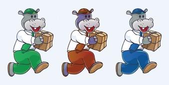 Hipopótamo feliz con el paquete de entrega