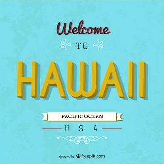 Tarjeta retro bienvenido a Hawai