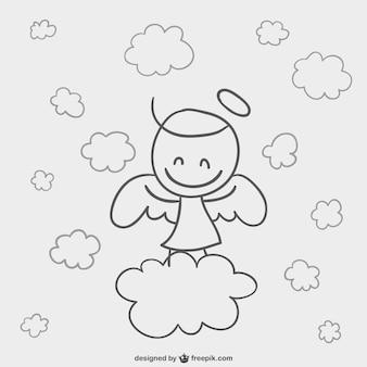 Ángel con nubes estilo cómic