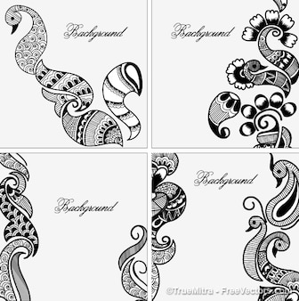 Henna diseños Conjunto de fondos de vector