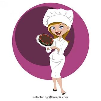 Hermosa chef de repostería