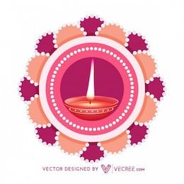 Hermosa diwali tarjeta de felicitación de la decoración
