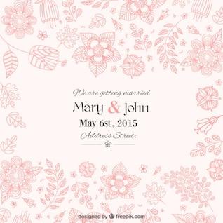 Hermosa invitación floral de la boda