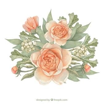 Hermosas flores y hojas