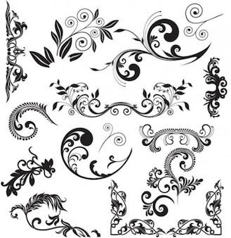 Hermosos adornos florales de vectores decorativos