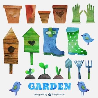 Herramientas de jardinería de acuarela
