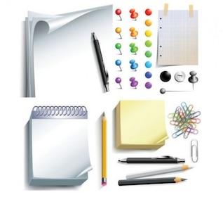 Herramientas de oficina con estilo en conjunto de vectores 3d