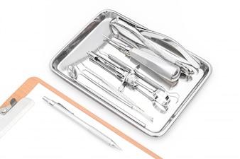 Herramientas dentales, equipo y gráfico dental sobre fondo blanco