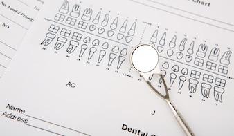Herramientas dentales y equipos en dentigrama