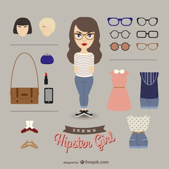 Elementos de moda de chica hipster