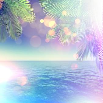 Hojas de palmera sobre el mar