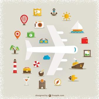 Iconos de viajes con avión
