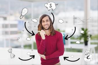 Hombre con burbujas de texto con imágenes