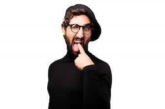 Hombre con un dedo en la boca
