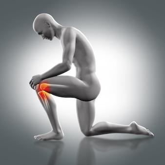 Hombre con una rodilla en el suelo y con dolor en la otra rodilla