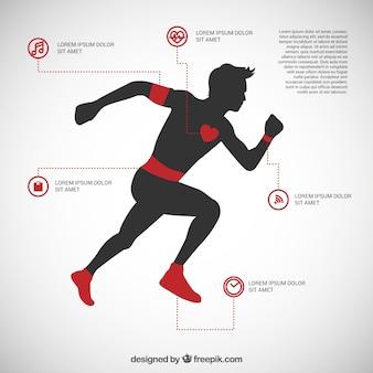 Hombre corriendo infografía