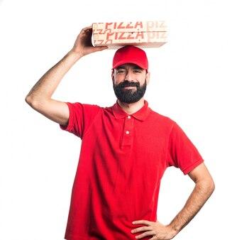 Hombre de entrega de pizza