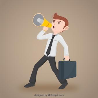 Hombre de negocios con un megáfono