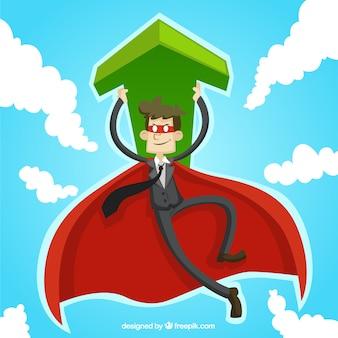 hombre de negocios de superhéroe con una flecha