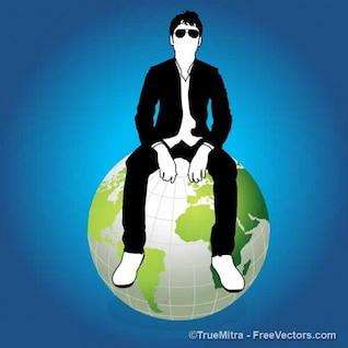 Hombre de negocios en la tierra