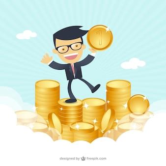 Hombre de negocios feliz con el dinero