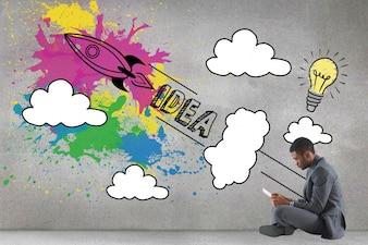 Hombre de negocios sentado con creativa ilustración