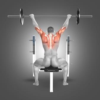 Hombre haciendo pesas para la espalda con los brazos estirados