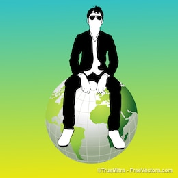 Hombre sentado en el globo de la tierra