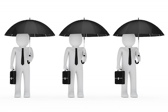 Hombres de negocios con paraguas y maletines
