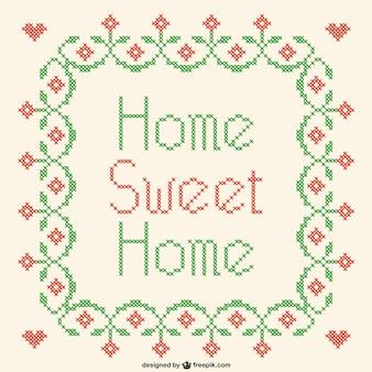 Rótulo de hogar dulce hogar en punto de cruz
