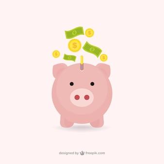Hucha de cerdito con dinero