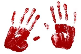 Huellas de manos en color rojo