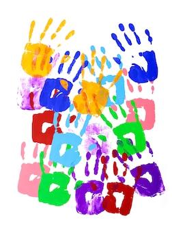 Huellas de manos multicolores