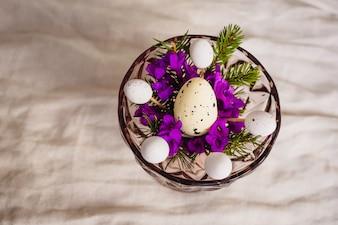 Huevo de codorniz se encuentra en las flores violetas en un tazón