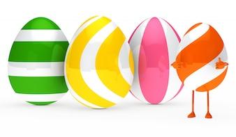 Huevo feliz con los pulgares hacia arriba
