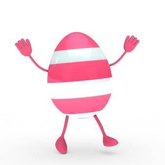 Huevo rosa con manos y pies