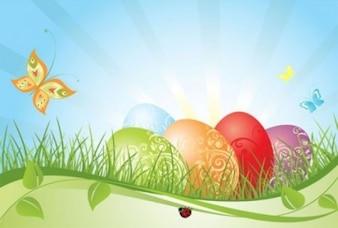 Huevos de color con el fondo de las mariposas