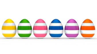 Huevos de colores con líneas blancas en fila