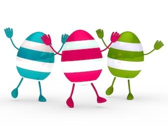 Huevos de colores con manos y pies