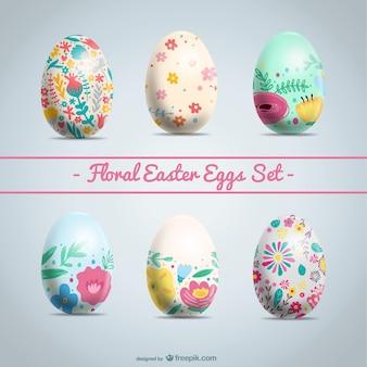 Huevos de pascua con decoración floral
