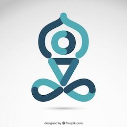 Icono de yoga en estilo abstracto