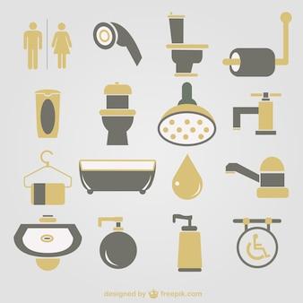 Iconos a color de cuarto de baño