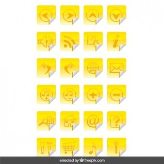 Iconos amarillos pegatinas