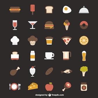 Iconos coloridos de comida