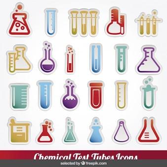 Iconos coloridos de tubos de ensayos químicos