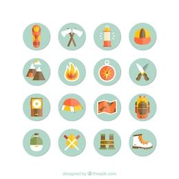 Iconos de acampada y senderismo