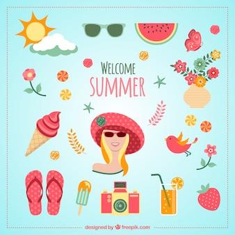 Iconos de bienvenido el verano