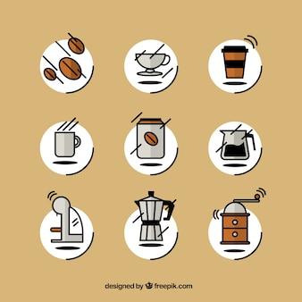Iconos de café esbozados