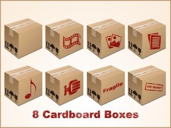 Iconos de cajas de cartón