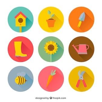 Iconos de colores de jardinería